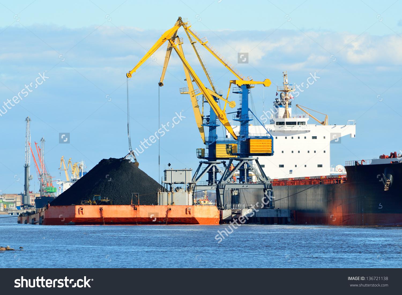Cargo Ship Loading Coal Cargo Terminal Stock Photo 136721138.