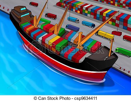Clipart of Cargo Ship.