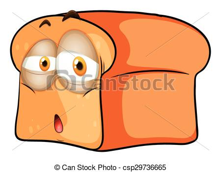 Clip Art Vector of Loaf of bread with sad face illustration.