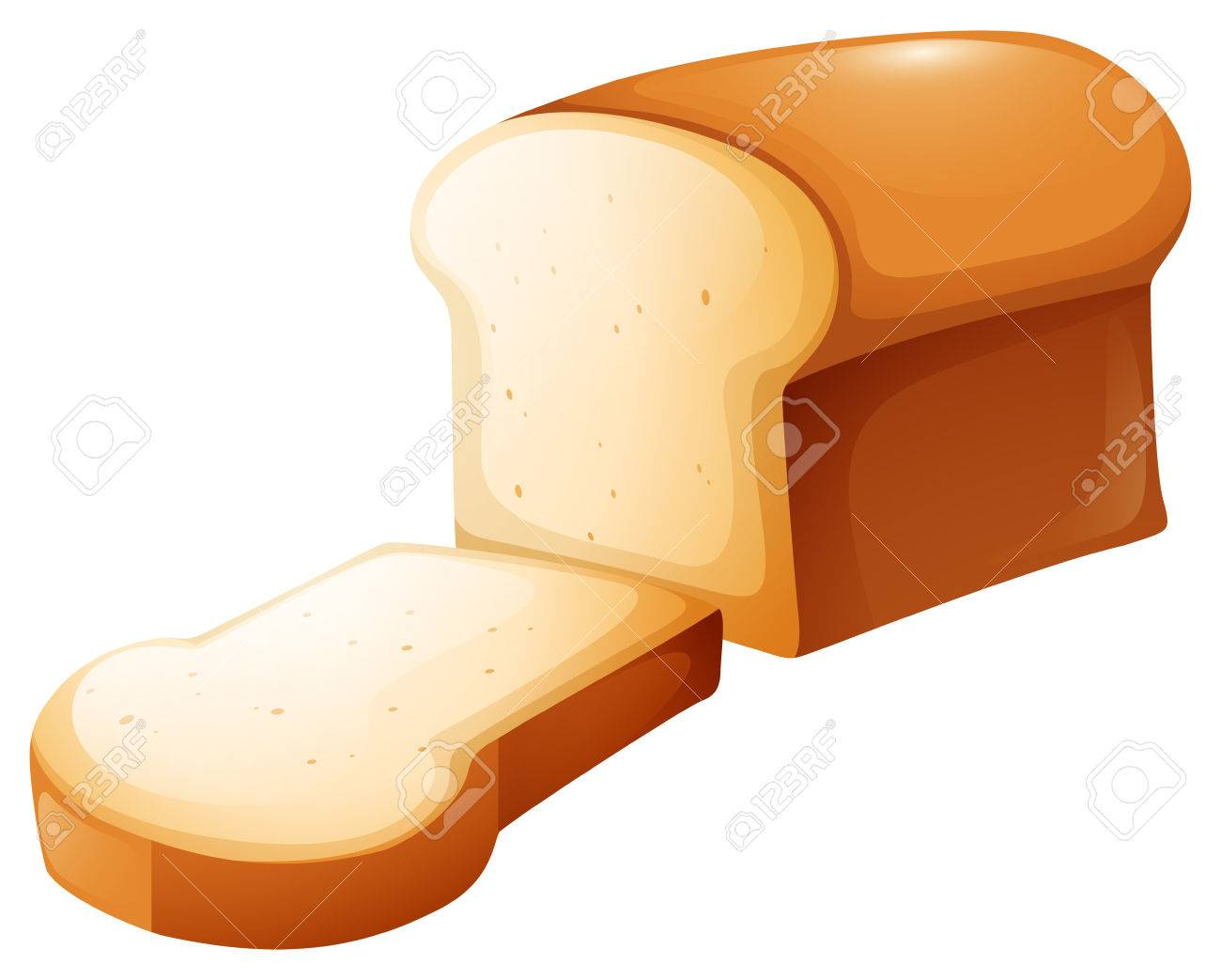 Loaf of bread and single slice illustration.