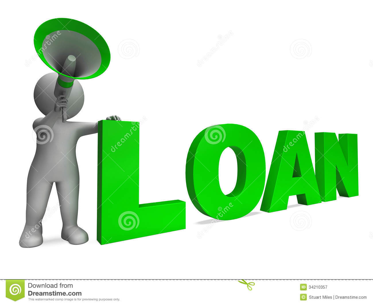 Loan Character Shows Bank Loans Mortgage Royalty Free Stock.