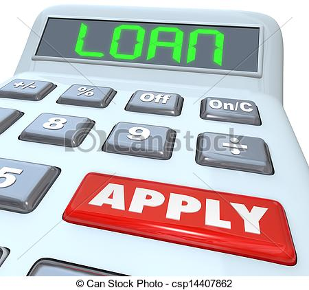 Stock Illustration of Loan Word Calculator Borrow Money Apply.