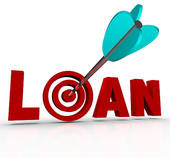 Clip Art of Loan Word Calculator Borrow Money Apply Financing Bank.