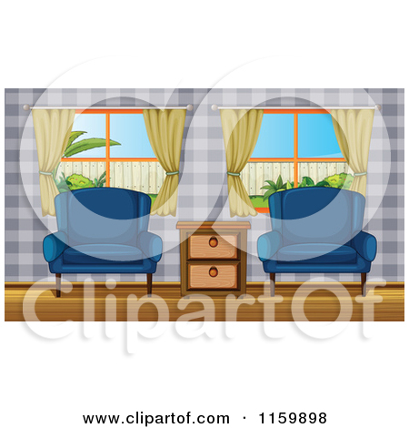 Cartoon of Two Chairs in a Living Room or Lobby.