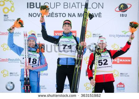 Bardonecchia January 30 Podium Skiers 1 Stock Photo 70450294.