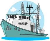 Clip Art of Isometric drawing of fisher boat and trawler for spiny.