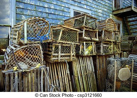 Stock Photography of Lobster traps.