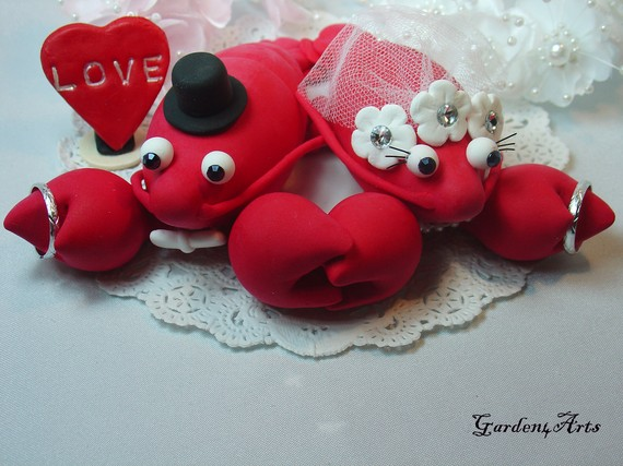 Red Lobster Love Wedding Cake Topper HAND HOLD HAND with.