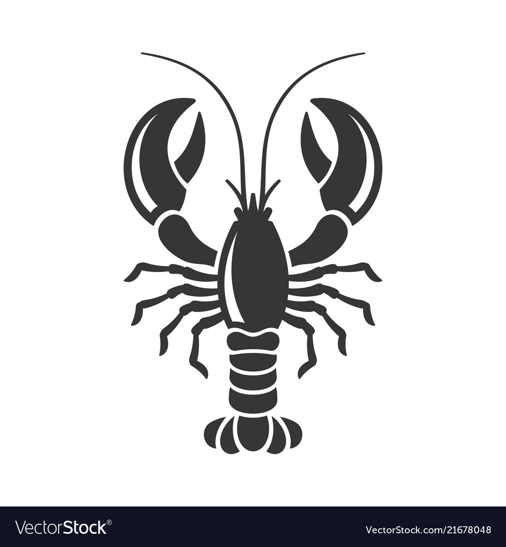 Lobster silhouette icon on white background.