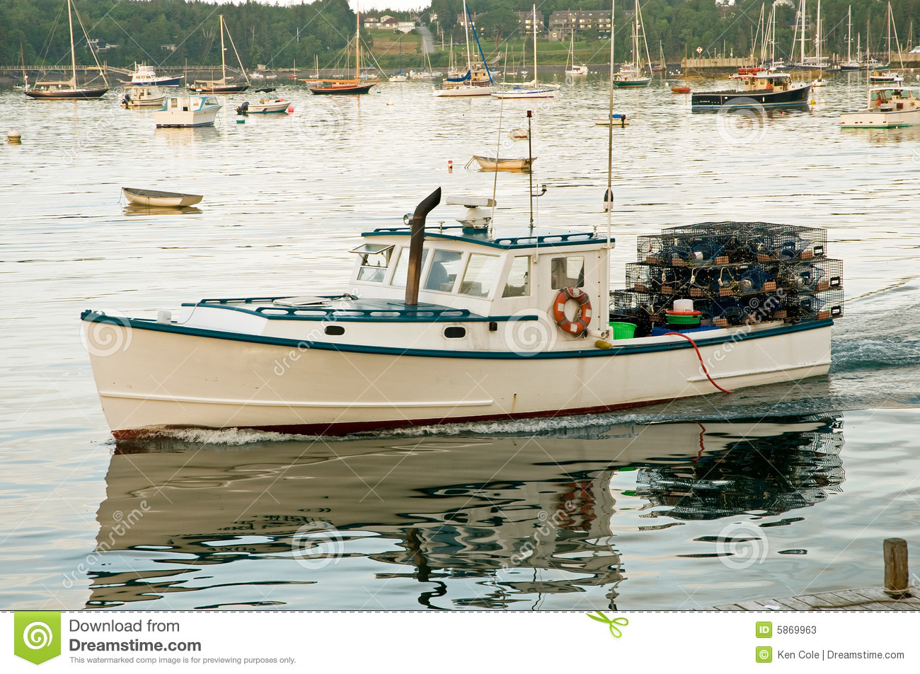 Lobster Boat Leaving Harbor Stock Photos.