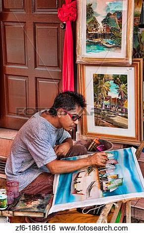 Stock Images of Melaka Malaysia Hertiage City local artist.