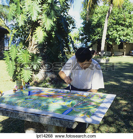 Pictures of Local artist, naive painter at work, Seychelles.