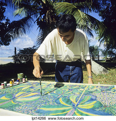 Stock Images of Local artist, naive painter at work, Seychelles.