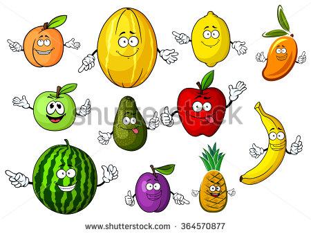 Set Fun Fruit Berries Stock Vector 79724461.
