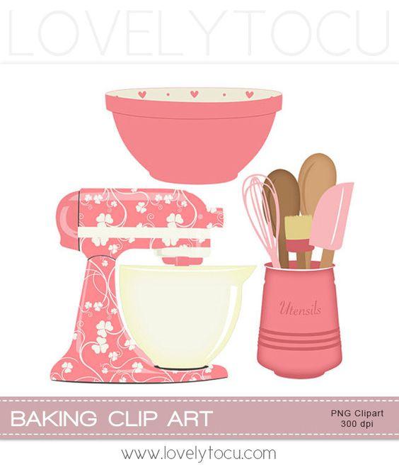 Kitchen Baking clipart set mixer, utensils and bowl digital PNG.