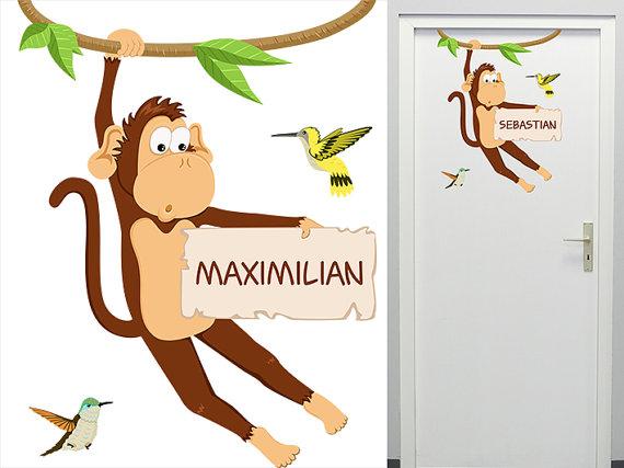 Wandtattoo Affe Türschild Namensschild für die Tür von MHBilder.