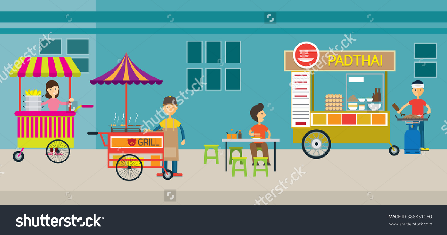 Thailand Street Food Drink Local Market Stock Vector 386851060.