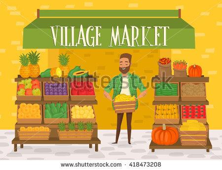 Village Market Stock Images, Royalty.