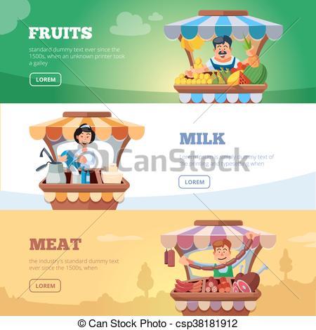 Vector Clip Art of Local market farmers selling vegetables, milk.