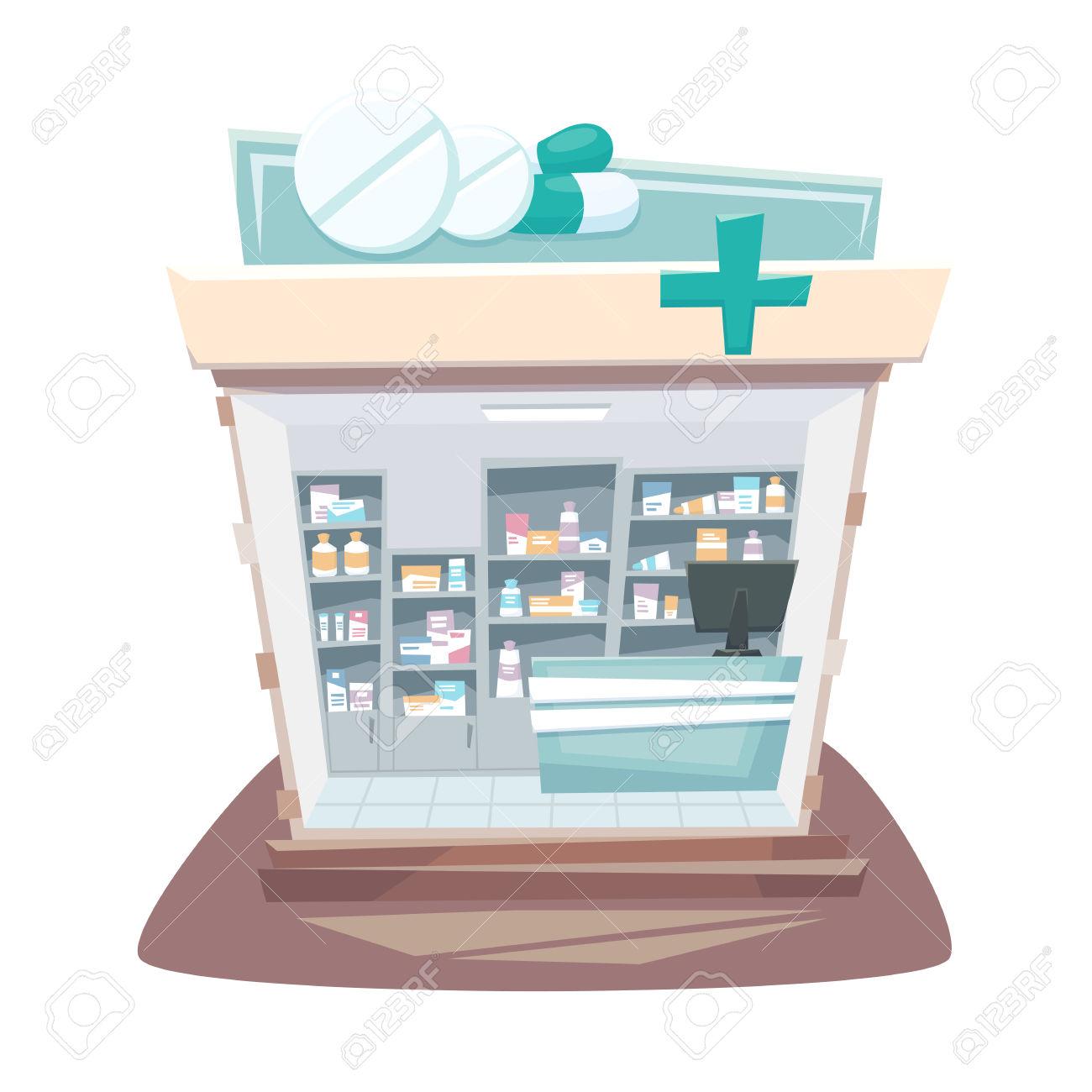 Pharmacy Store Interior. Street Local Drugstore Building. Medicine.