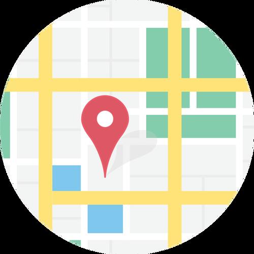 Clipart vetorial de localização no signo do mapa.