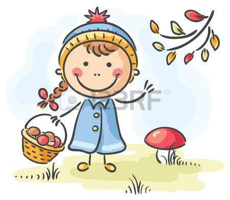 Gathering Mushrooms Stock Vector Illustration And Royalty Free.