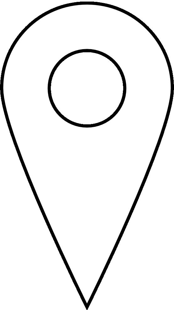 Google Places Pin Icon Black White Line Art Coloring Book.