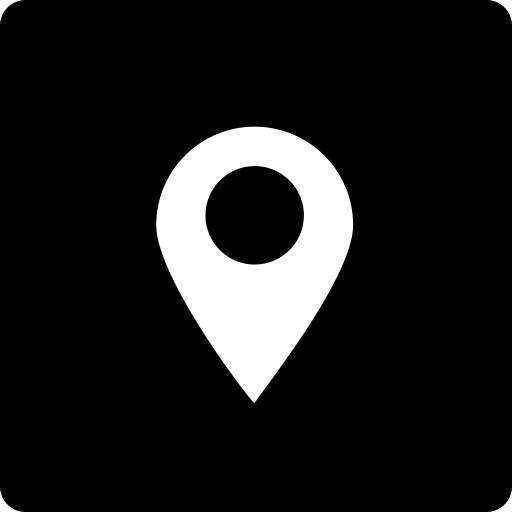 Location, media, social, square icon.