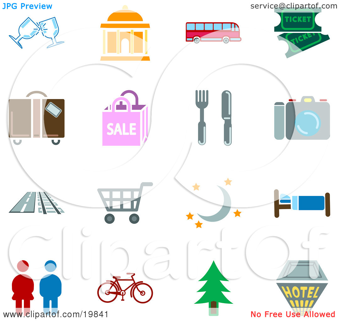 Clipart Illustration of a Collection Of Color Travel Icons For.
