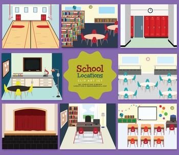 School Locations Clip Art Set.