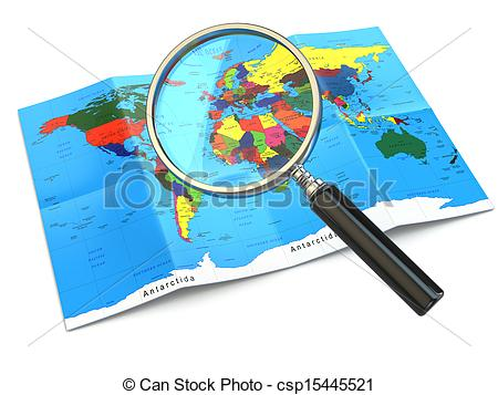 Clip Art of Find locations. Loupe and mapof the world. 3d.