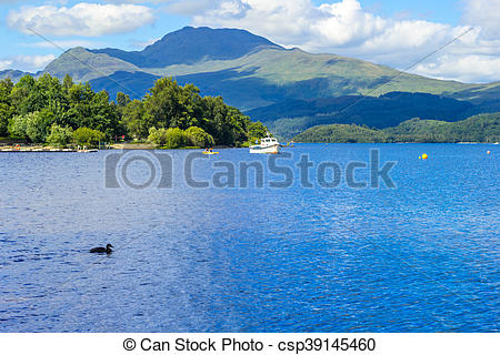 Stock Image of Boat on a sunny day at Loch Lomond in Luss.