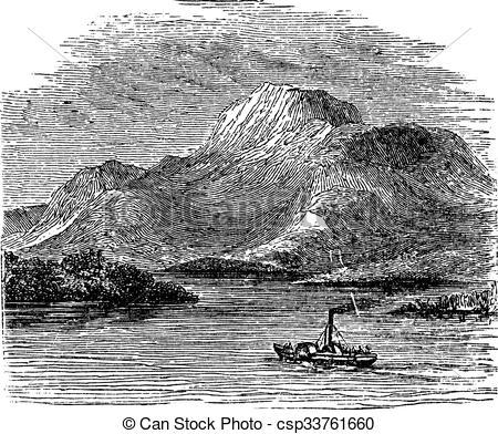 Clip Art Vector of Loch Lomond on Highland Boundary Fault Scotland.
