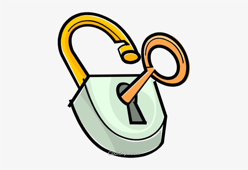 Lock And Key Royalty Free Vector Clip Art Illustration.