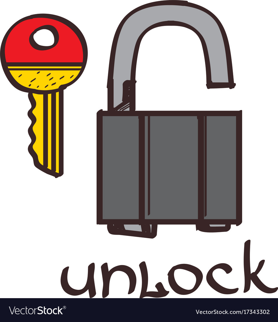 Lock and key clipart color on a white background.
