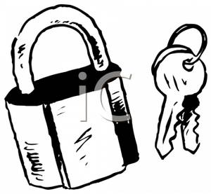 Lock Black And White Clipart.