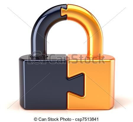 Clipart of Puzzle lock padlock security.