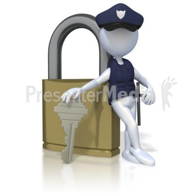Security Lock Stick Figure.