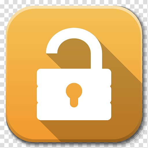 Unlock icon illustration, lock symbol yellow, Apps Unlock.