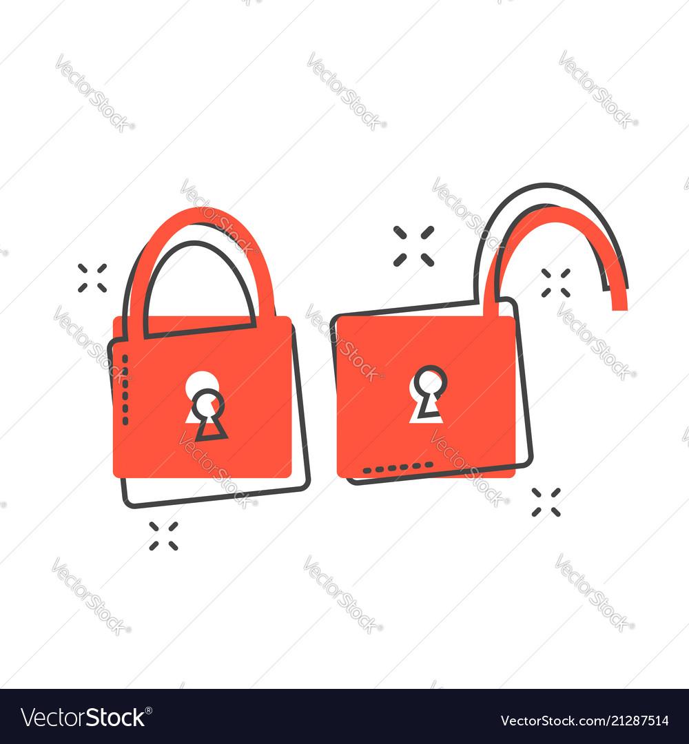 Cartoon padlock icon in comic style lock unlock.