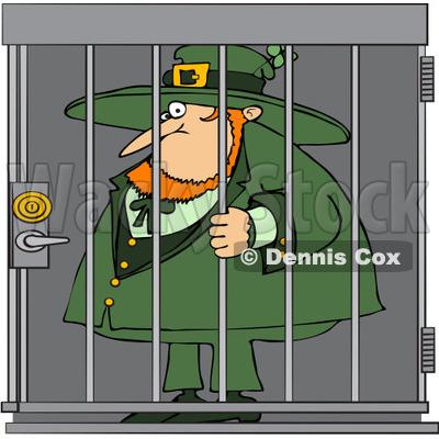 Free (RF) Clip Art Illustration of a Locked Up Leprechaun © Dennis.