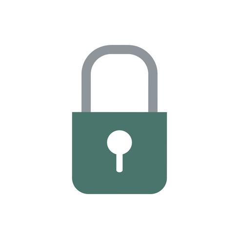 Dark green color lock vector icon.