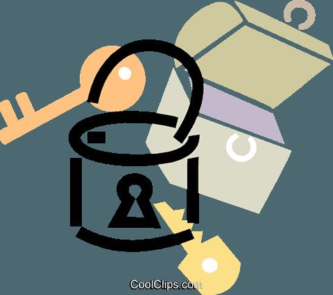 padlock with lock box Royalty Free Vector Clip Art illustration.