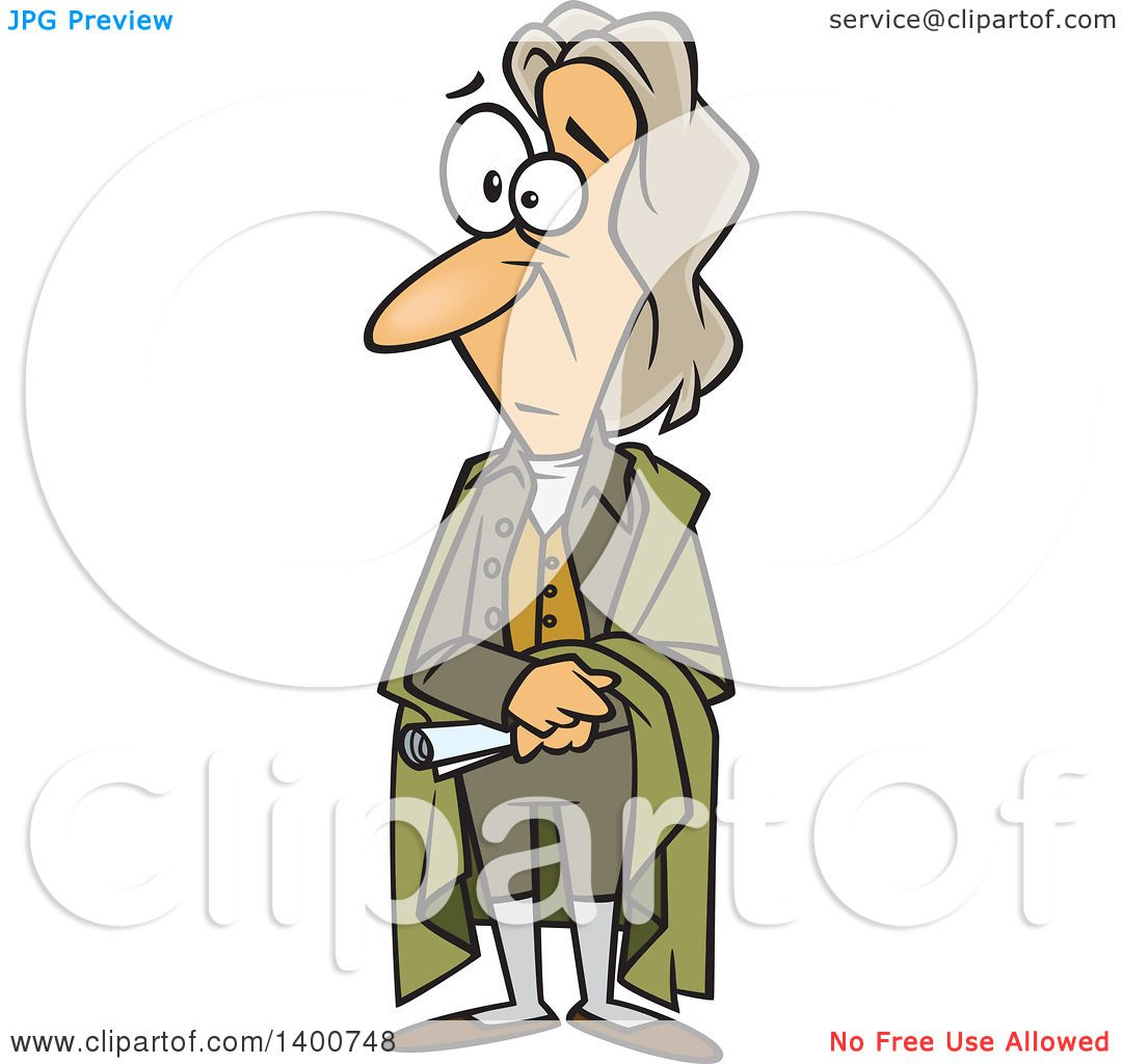 Clipart of a Cartoon Man, John Locke, Standing and Holding a.