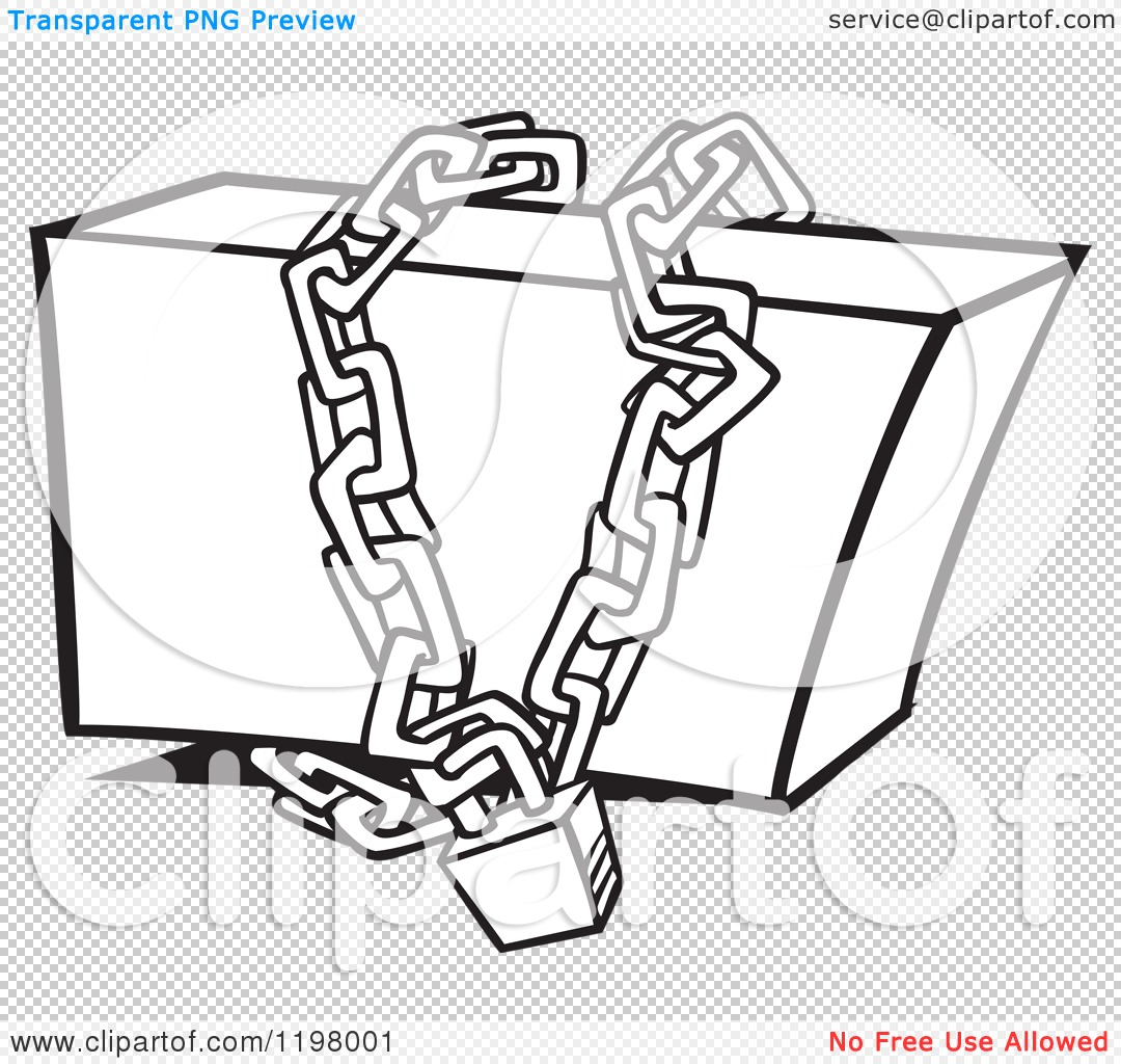 Cartoon of an Outlined Box Locked up in Chains.