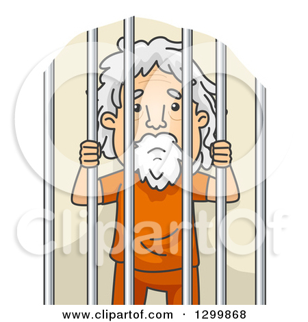 Clipart Illustration of a Jailed Elephant Behind Bars In A Prison.