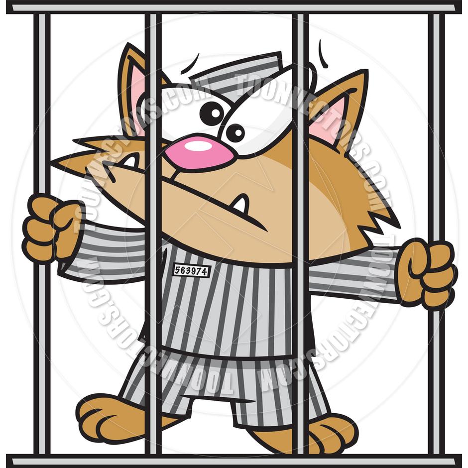Cartoon Cat in Jail by Ron Leishman.