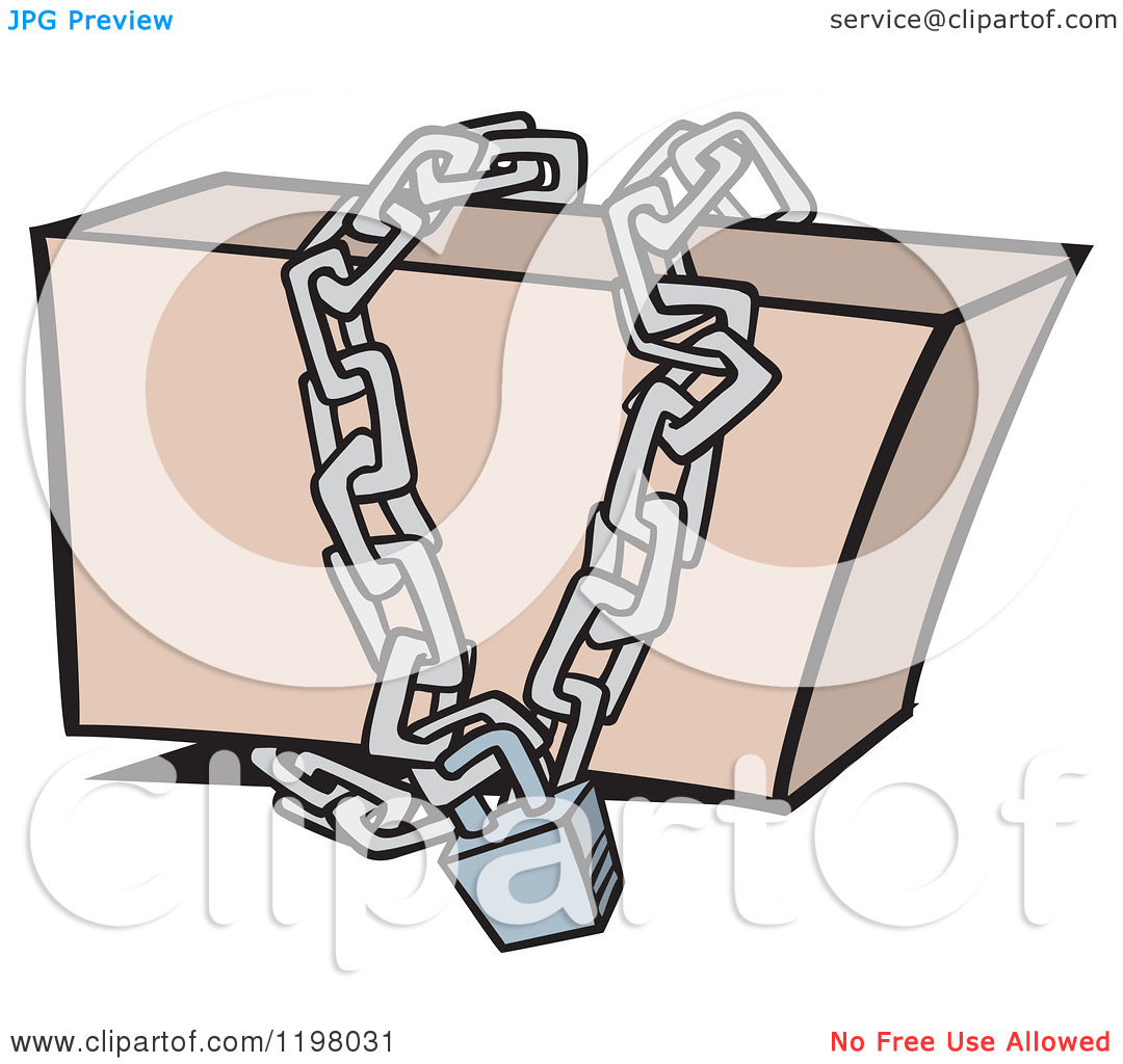 Cartoon of a Box Locked up in Chains.