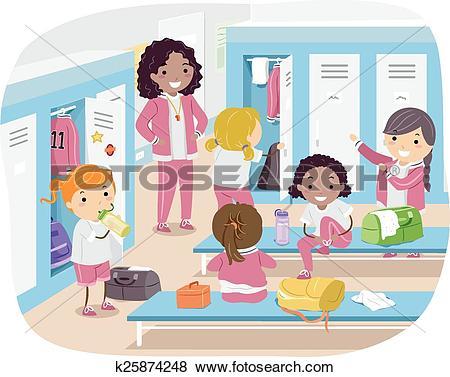 Clip Art of Stickman Girls Locker Room k25874248.
