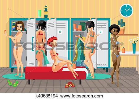Clipart of Women's locker room in the spa salon. Girls dress in.